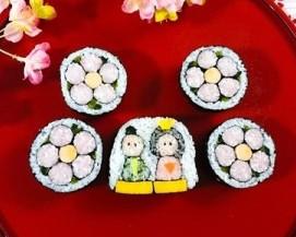 飾り巻き寿司(おひな様と桃の花)